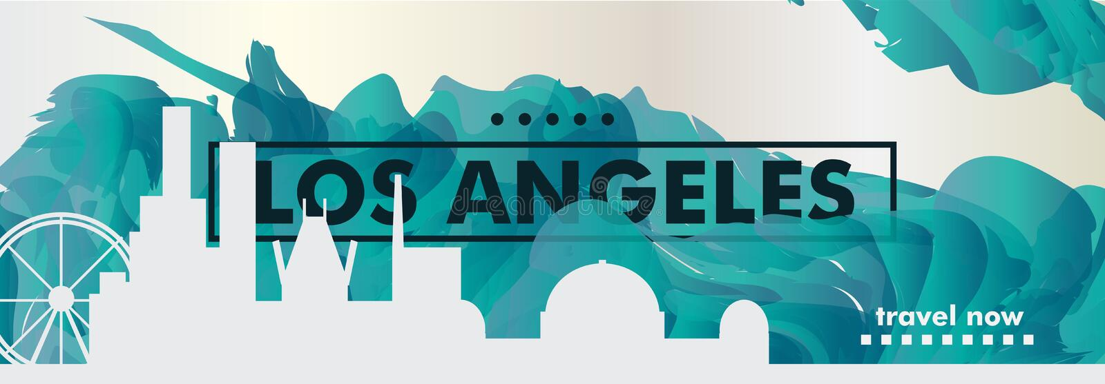 USA United States of America Los Angeles skyline city gradient v vector illustration