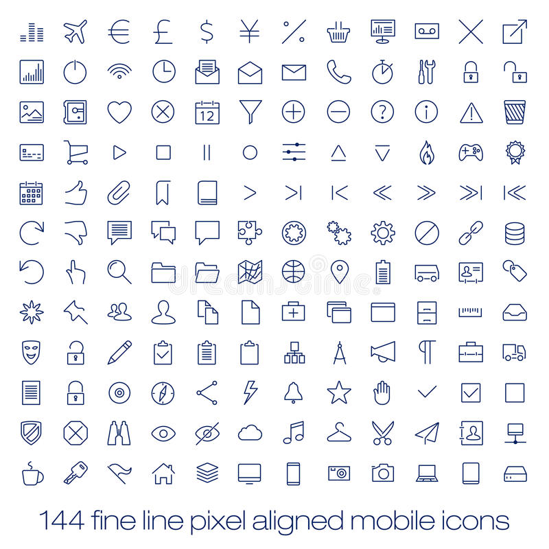 Modern user interface line icons, pixels perfect. Modern flat user interface icons for mobile smart phone or web site. Transparent blurred material design ui vector illustration