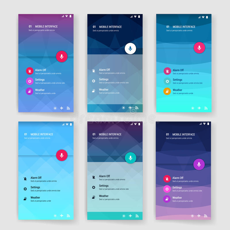Modern user interface screen template for mobile royalty free illustration