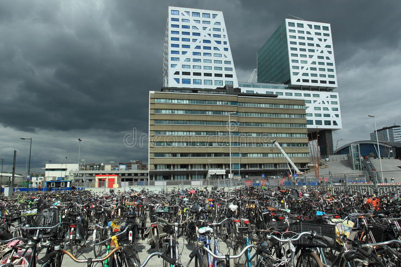 Modern Utrecht. The place before Utrecht central train station, Netherlands royalty free stock photography