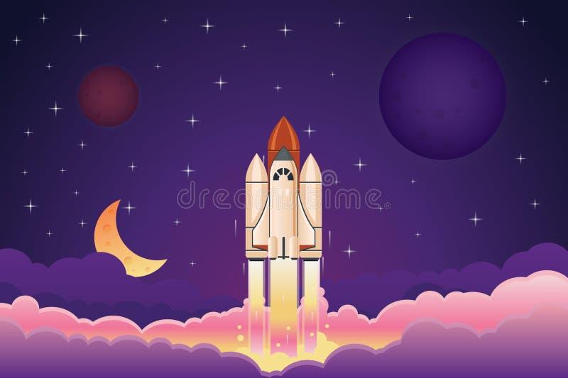 Modern utrymmeraket som flyger upp över moln mot natthimmel med illustrationen för planet- och stjärnatecknad filmvectro stock illustrationer