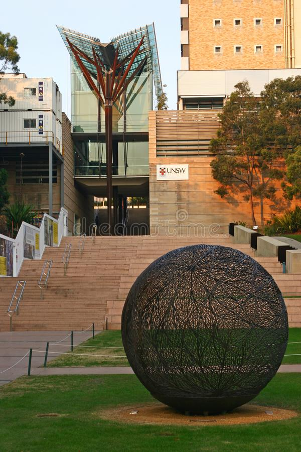 Free Modern V-shaped Glass Canopy With Brown Timber Column And Tree Branches On Stairs At John Niland Scientia Building On UNSW Campus Royalty Free Stock Photography - 137451877