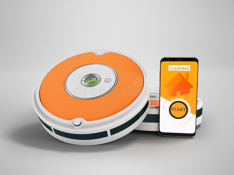 Modern vacuum cleaner robot gray with orange inserts with control on a mobile phone with 3d render on gray background with shadow stock illustration