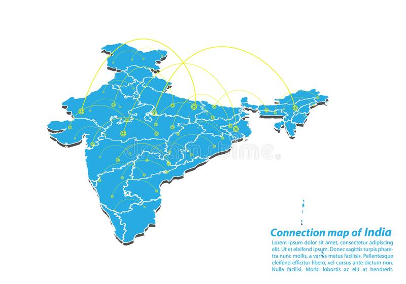 Modern van van de Kaartverbindingen van India het netwerkontwerp, Beste Internet-Concept de kaartzaken van India van conceptenree royalty-vrije illustratie