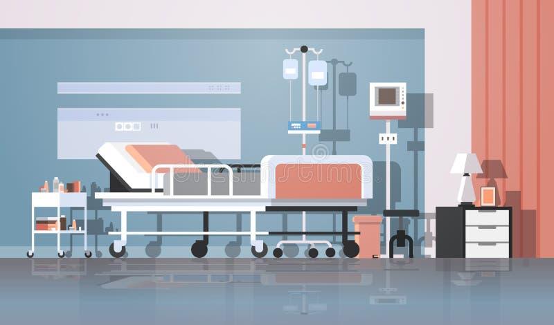 Modern van de de therapie geduldig afdeling van de het ziekenhuisruimte binnenlands intensief de verpleegkundige verzorgingbed op royalty-vrije illustratie