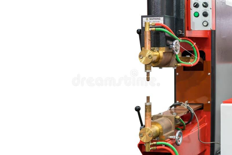 Modern van het lassenmachine van de weerstandsvlek die op witte achtergrond met exemplaar ruimte & het knippen weg wordt geïsolee stock afbeeldingen