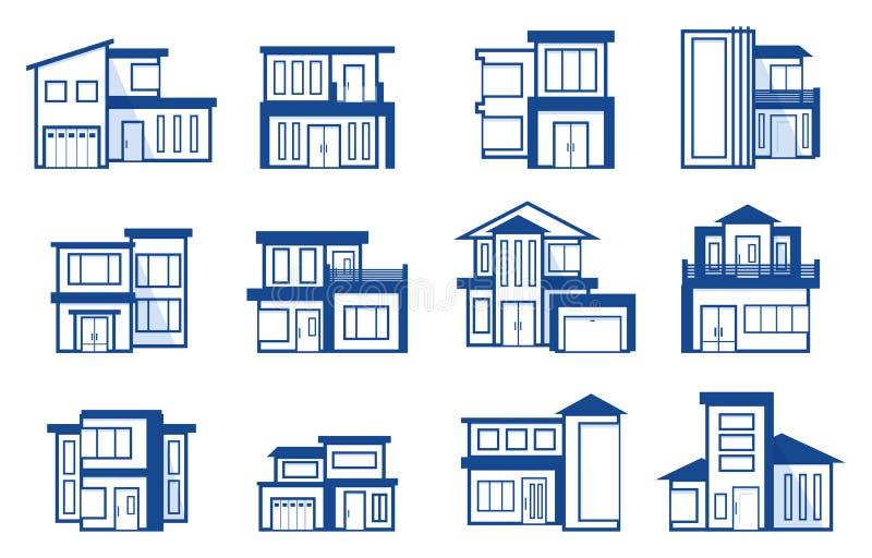 Modern van het het Pictogramsymbool van Real Estate van het Huishuis het Overzichtselement vector illustratie