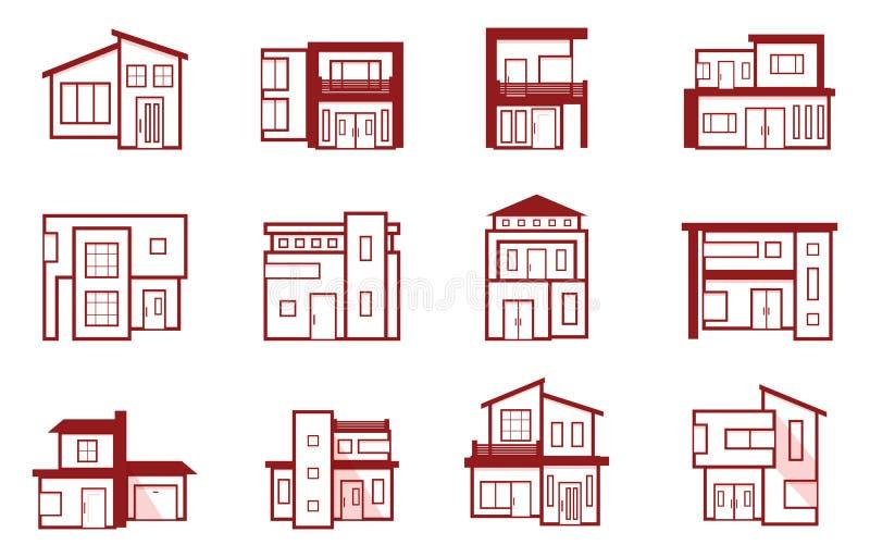 Modern van het het Pictogramsymbool van Real Estate van het Huishuis het Overzichtselement stock illustratie