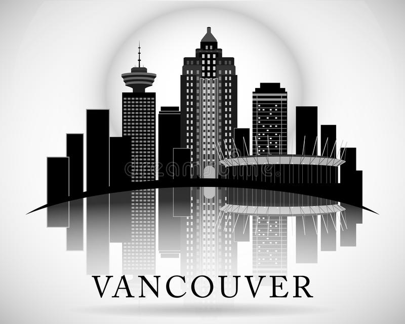 Modern Vancouver City Skyline Design. Canada stock illustration