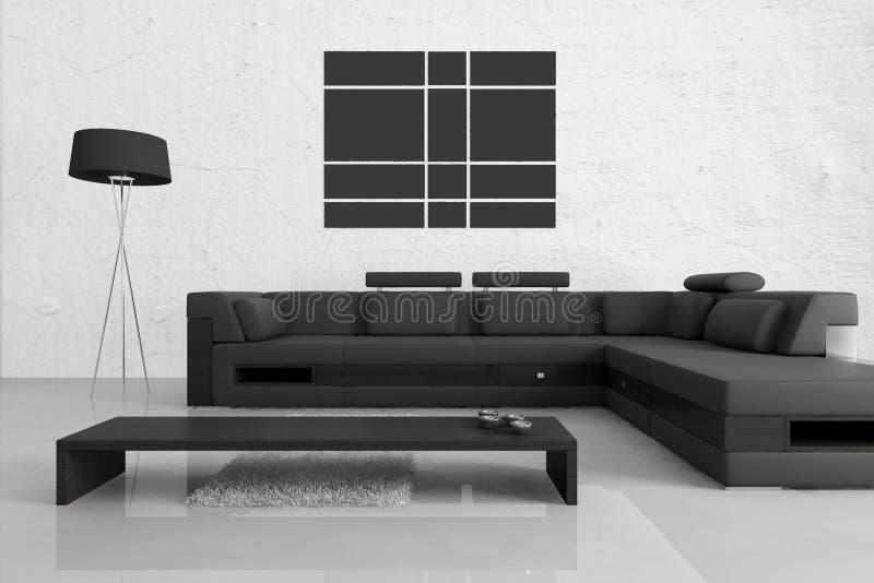 Modern vardagsrum | Arkitekturinre stock illustrationer