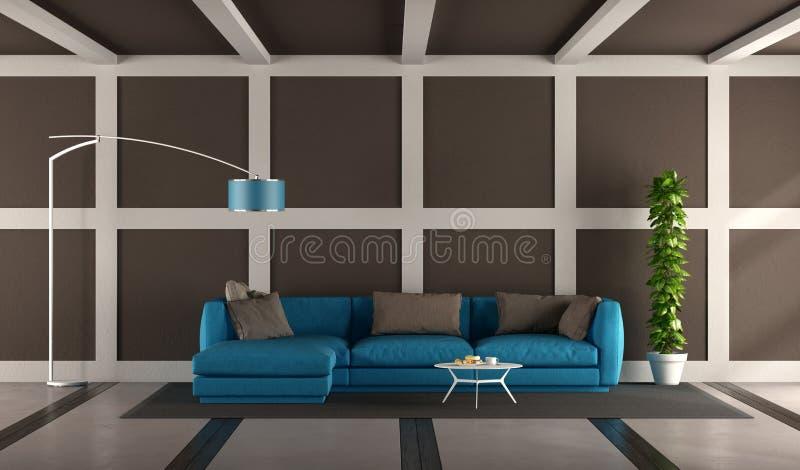 Modern vardagsrum för blått och för brunt stock illustrationer