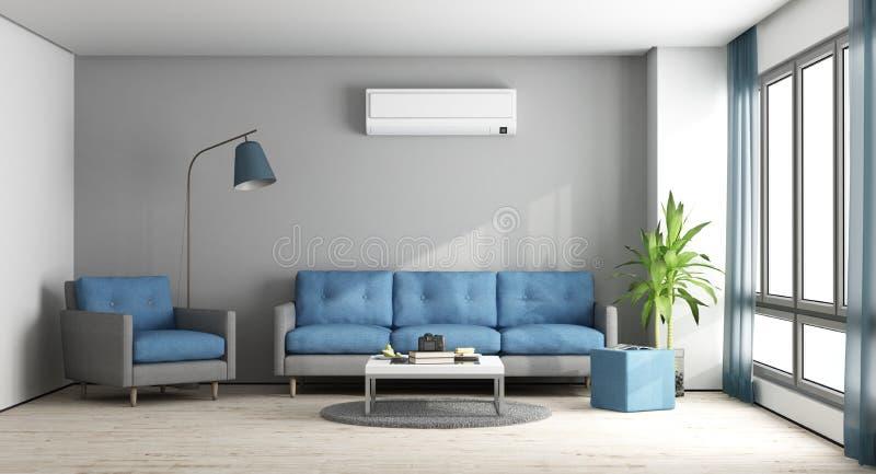 Modern vardagsrum för blått och för grå färger vektor illustrationer
