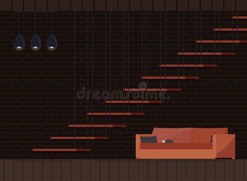 Modern vardagsrum för industriell mörk inre bakgrunddesign för vind vektor illustrationer