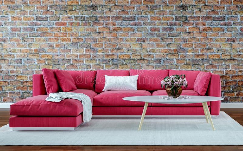 Modern vardagsrum för inredesign, gammal tegelstenvägg, retro stil, röd soffa royaltyfria bilder