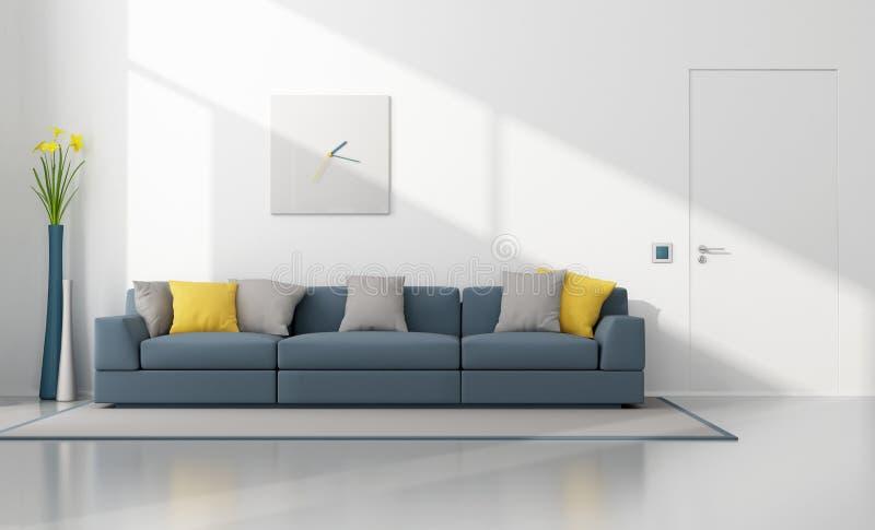 Modern vardagsrum för vit och för blått stock illustrationer