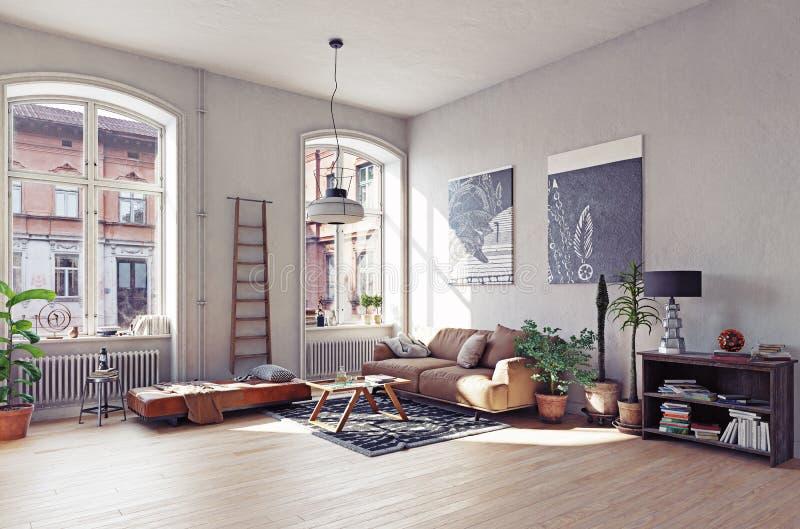 Modern vardagsrum I vektor illustrationer