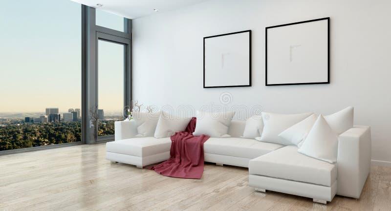 Modern vardagsrum i andelsfastighet med stadssikt royaltyfri illustrationer