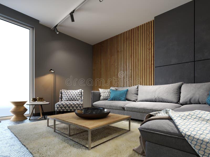 Modern vardagsrum i en vindstil med ett metallgolv och ett trädekorativt märkes- möblemang för vägg och vektor illustrationer