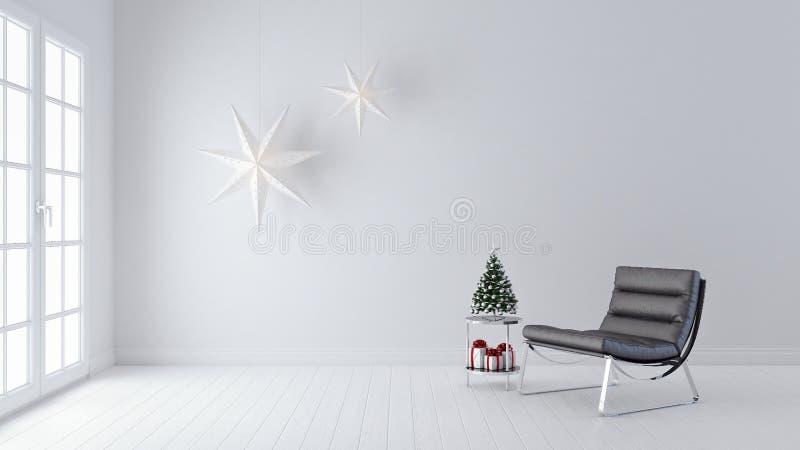 Modern vardagsrum, inredesign, julgarnering, nytt år, 3d att framföra fotografering för bildbyråer