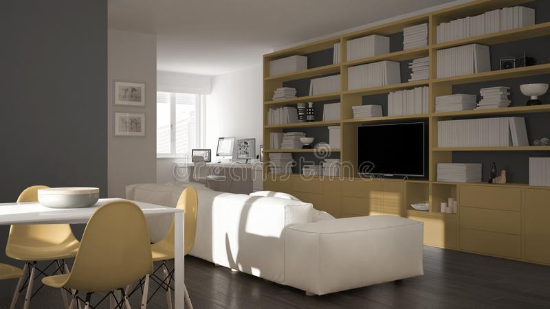 Modern vardagsrum med arbetsplatshörnet, den stora bokhyllan och design tabellen för äta middag, minsta vit och för gulingarkitek royaltyfria bilder