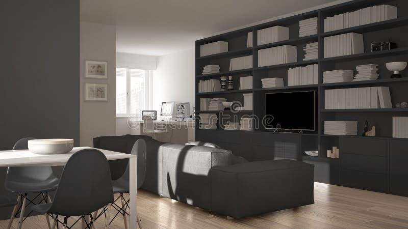 Modern vardagsrum med arbetsplatshörnet, stor bokhylla och äta middagtabell, minsta vit en grå arkitekturinredesign royaltyfri illustrationer