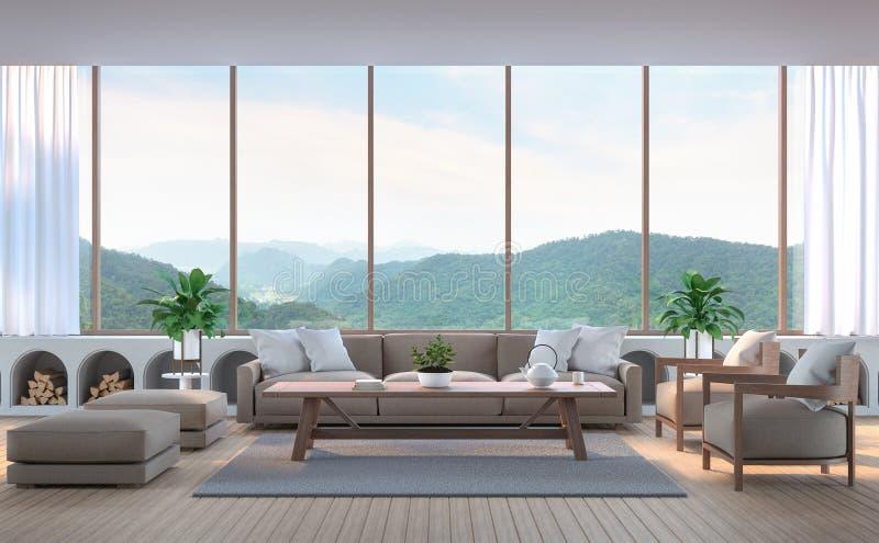Modern vardagsrum med bild för tolkning för bergsikt 3d fotografering för bildbyråer