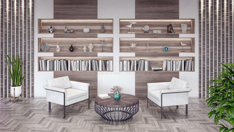 Modern vardagsrum med bokhyllan och träbeståndsdelar 3d att framföra vektor illustrationer