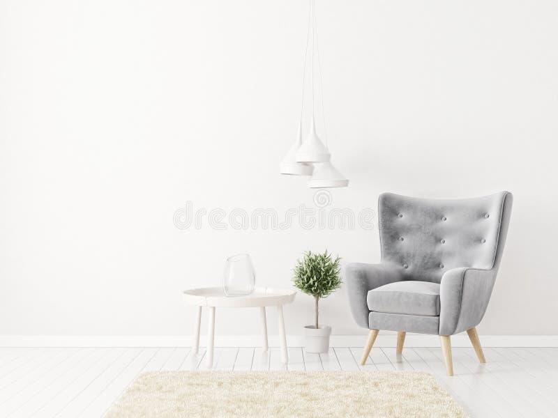 Modern vardagsrum med den gråa fåtöljen och lampan scandinavian möblemang för inredesign royaltyfri illustrationer