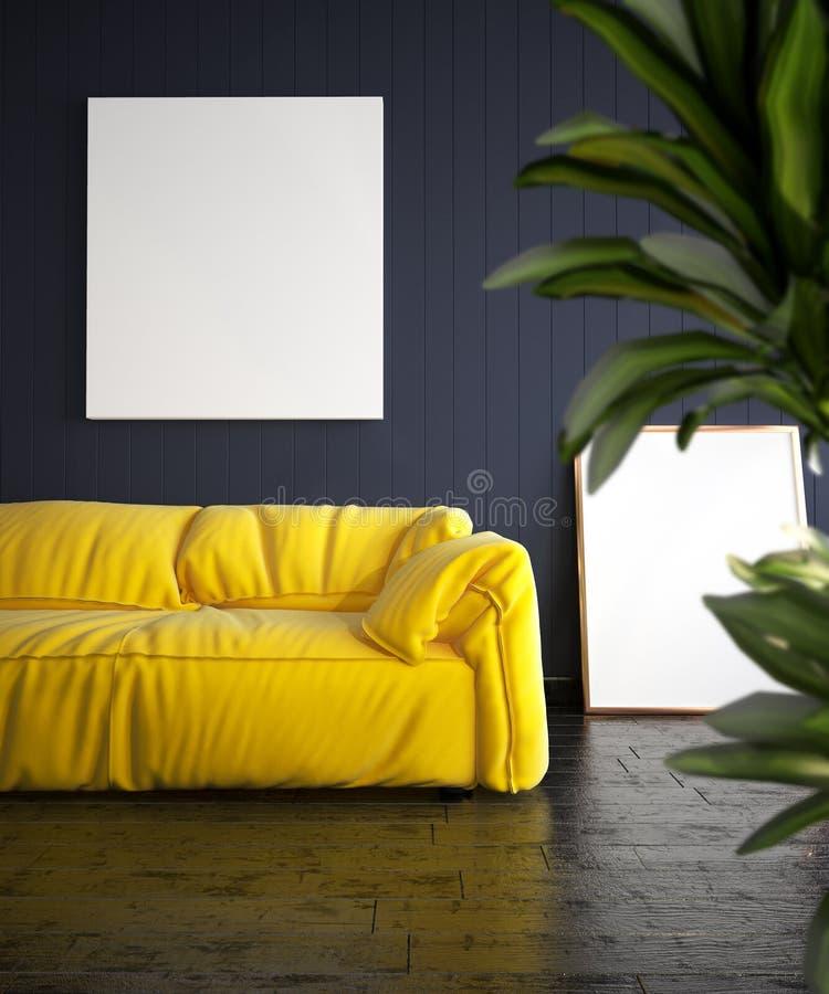 Modern vardagsrum med den gula soffa- och affischmodellen royaltyfri illustrationer