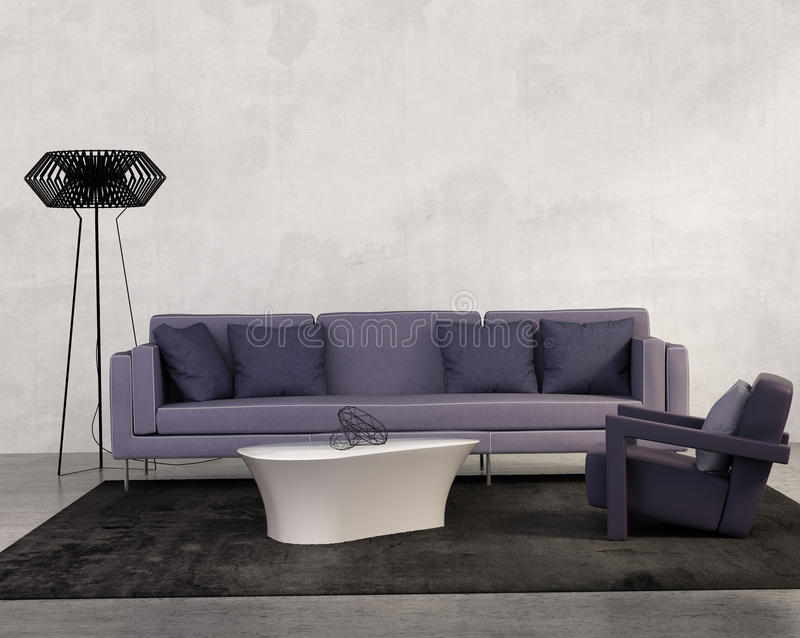 Modern vardagsrum med den purpurfärgade soffan royaltyfri illustrationer