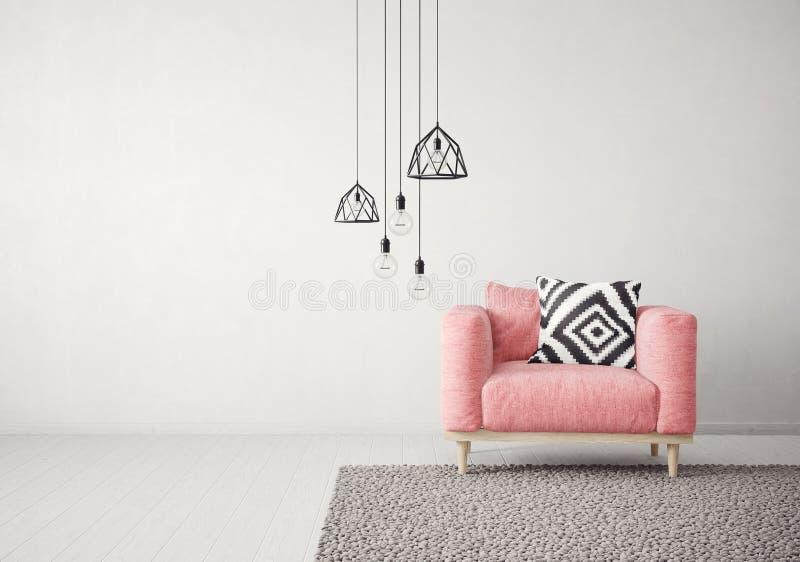 Modern vardagsrum med den röda fåtöljen och lampan scandinavian möblemang för inredesign vektor illustrationer