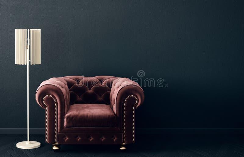 Modern vardagsrum med den röda fåtöljen och lampan scandinavian möblemang för inredesign stock illustrationer