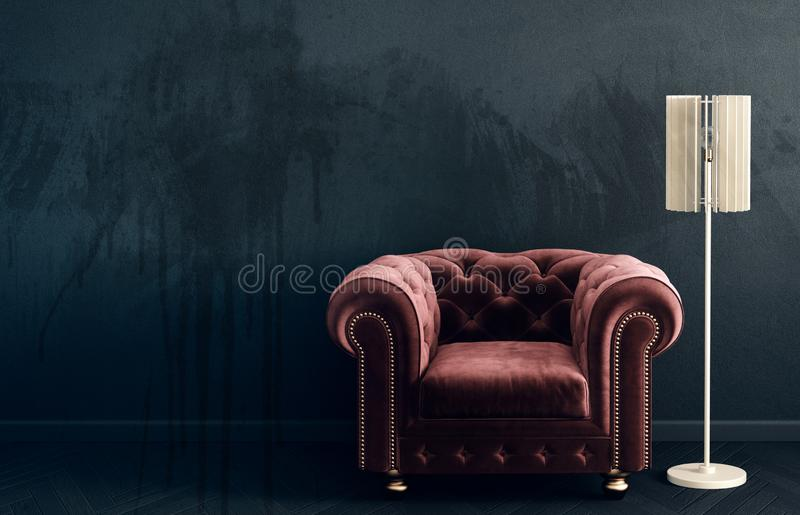 Modern vardagsrum med den röda fåtöljen och lampan scandinavian möblemang för inredesign royaltyfri illustrationer