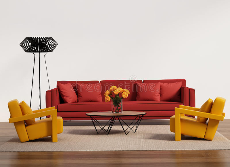 Modern vardagsrum med den röda soffan royaltyfri foto