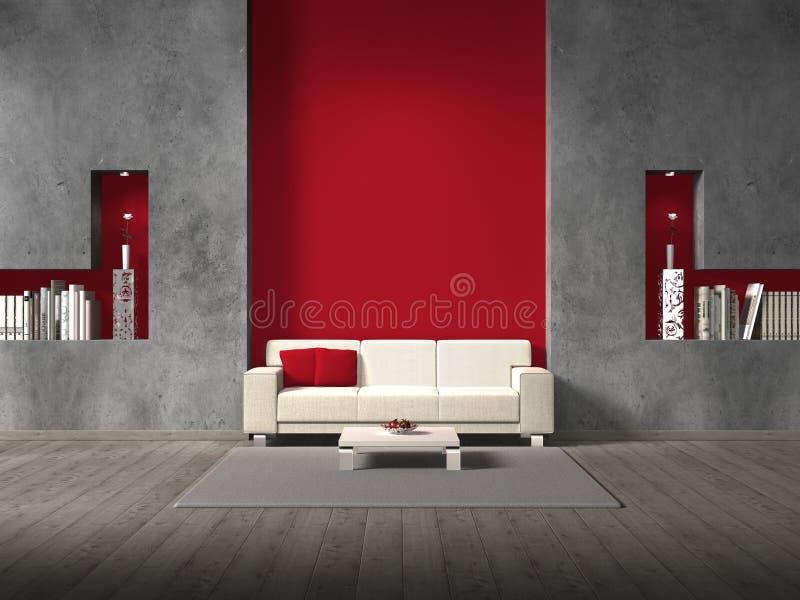 Modern vardagsrum med den rödbruna väggen royaltyfri illustrationer