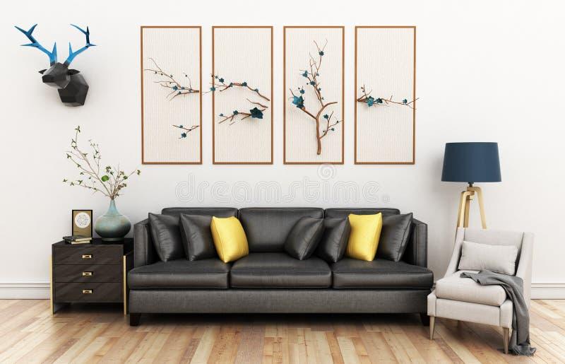 Modern vardagsrum med den soffa- och för möblemang 3d illustrationen royaltyfri illustrationer