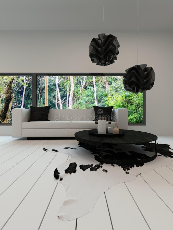 Modern vardagsrum med den svartvita soffan royaltyfria bilder