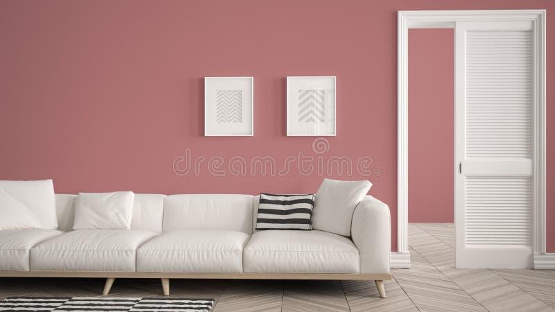 Modern vardagsrum med den vit soffan och matta, röd väggbakgrund med den öppna dörren, herrigboneparkett, mallbakgrund med vektor illustrationer