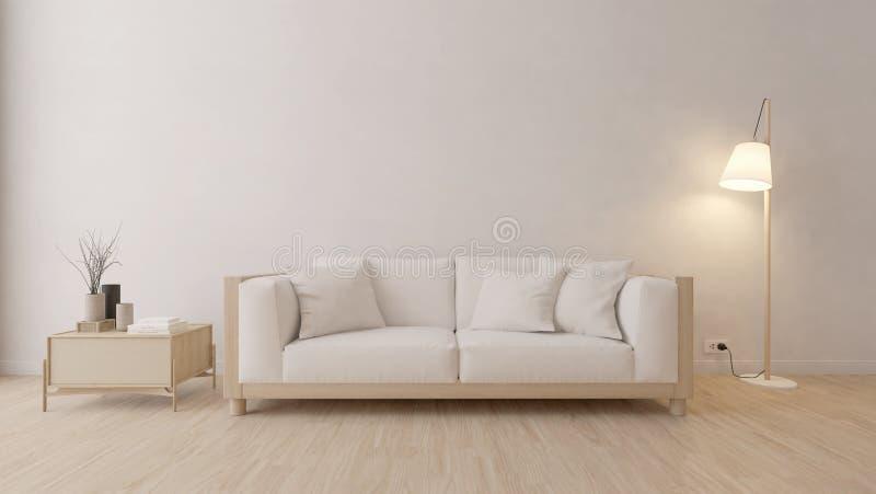 Modern vardagsrum med den vita soffan och lampan royaltyfri illustrationer