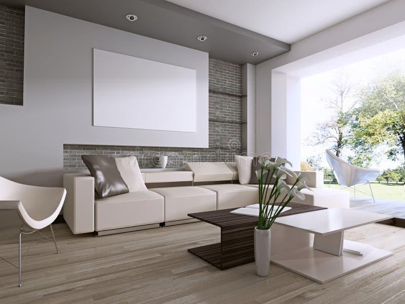 Modern vardagsrum med det stora fönstret som förbiser trädgården stock illustrationer