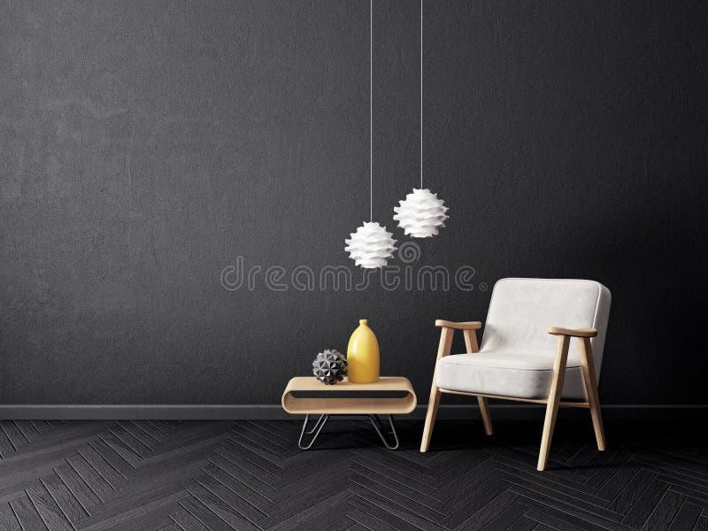 modern vardagsrum med fåtöljen och den svarta väggen scandinavian möblemang för inredesign stock illustrationer