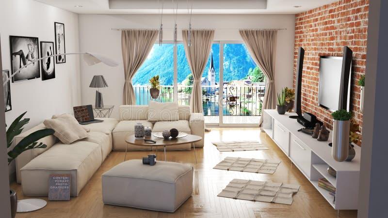 Modern vardagsrum med illustrationen för härlig sikt 3D fotografering för bildbyråer