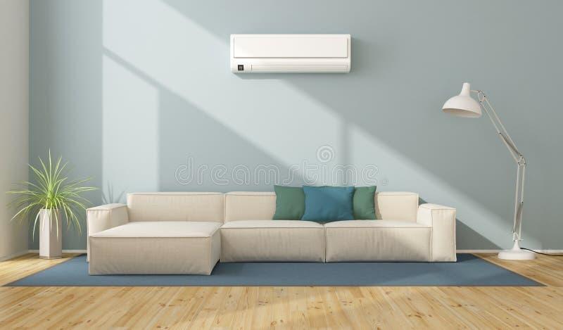 Modern vardagsrum med luftkonditioneringsapparaten vektor illustrationer