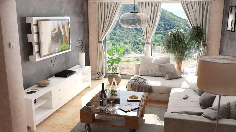 Modern vardagsrum med paletttabellen och den svarta och beigea illustrationen för vägg 3D fotografering för bildbyråer