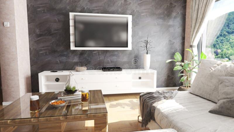 Modern vardagsrum med paletttabellen och illustrationen för härlig sikt 3D arkivfoto