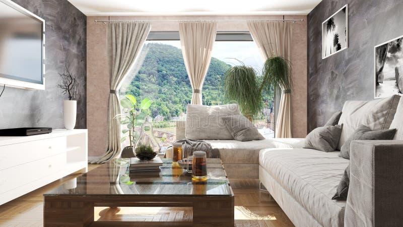 Modern vardagsrum med paletttabellen och illustrationen för härlig sikt 3D royaltyfri fotografi