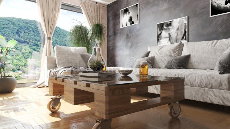 Modern vardagsrum med paletttabellen och illustrationen för härlig sikt 3D arkivbilder