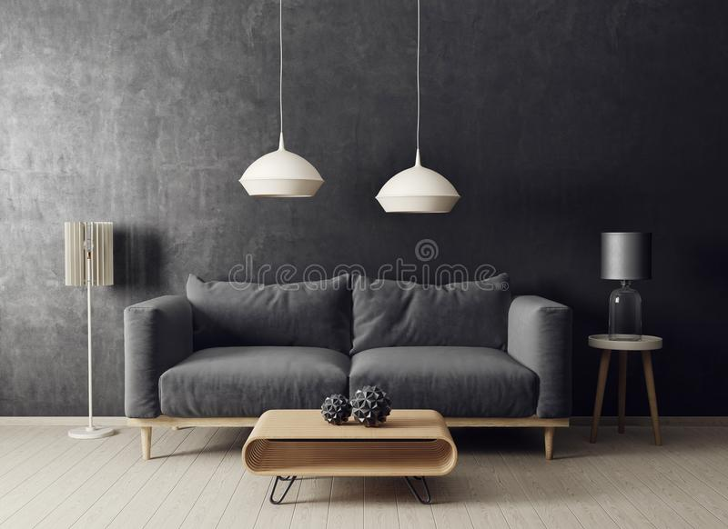 Modern vardagsrum med soffan och lampan scandinavian möblemang för inredesign stock illustrationer