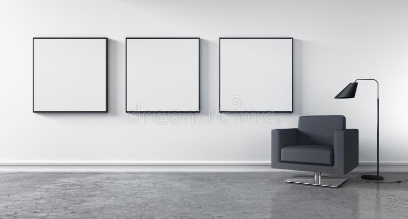 Modern vardagsrum med tomma bildramar stock illustrationer