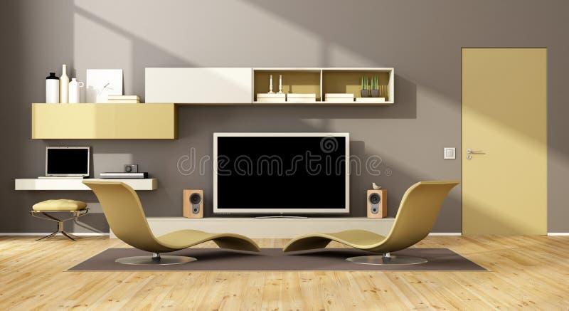 Modern vardagsrum med TVuppsättningen royaltyfri illustrationer